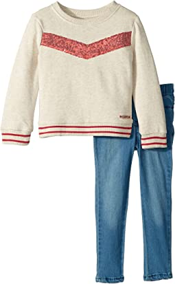 Two-Piece Oatmeal French Terry Pullover with Sequin Piecing, Stretch Denim Leggings (Toddler)