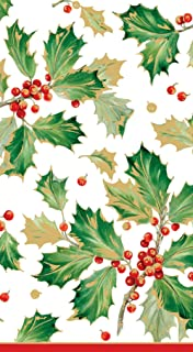 Entertaining with Caspari Gilded Holly Paper Guest Towels (15 Pack), White