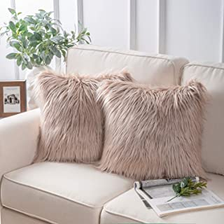 Phantoscope Pack of 2 Luxury Series Throw Pillow Covers Faux Fur Mongolian Style Plush Cushion Case for Couch Bed and Chair,Beige 18 x 18 inches 45 x 45 cm