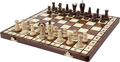 Wegiel Handmade Royal 36 European Chess Set - Wooden 14.2 Inch Board Hornbeam & Sycamore Pieces