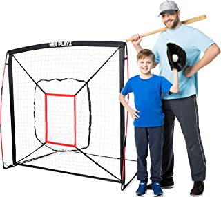 NET PLAYZ Baseball & Softball Practice Hitting & Pitching Net Similar to Bow Frame, Great for All Skill Levels, Fiberglass...