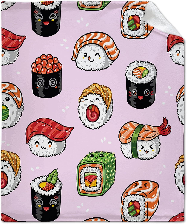 NIUBILITIY Max 54% OFF Sushi Japanese Food Time sale Pink Thro Blanket Childhood Foods