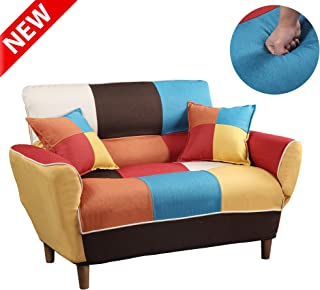 DANGRUUT Best Contemporary Multicolor Loveseat with Two Pillows, Thicken Futon Upholstered Foldable Sofa Couch Sleeper, Adjustable Split Back, Convertible Settee Leisure Sofa Small Space Living Room