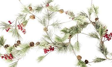 CraftMore Christmas Smokey Pine and Red Berry Garland 6 Feet