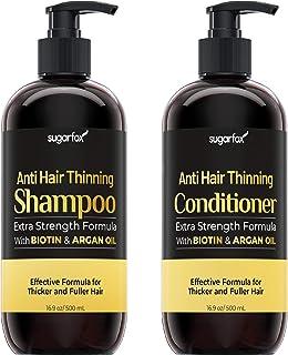 Sugarfox Hair Growth Shampoo and Conditioner | Anti Hair Loss and Hair Thinning Shampoo and Conditioner Set with Biotin, A...