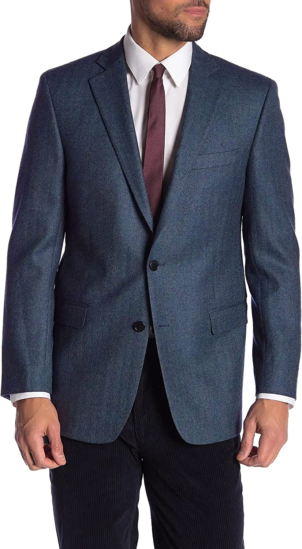 Brooks Brothers Men's 144119 Regent Fit Herringbone Two Button Notch Lapel Wool Blazer, Blue (44 Short, Numeric_44)