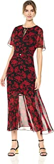Women's Red Rose Midi with Tie Neck