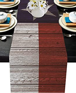 Infinidesign Flag Dining Table Runner 18x72 inch Washable Burlap Linen Table Runners for Family Dinner, Christmas Holiday ...