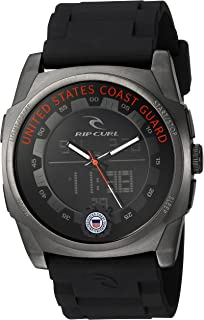 Rip Curl KAOS Stainless Steel Quartz Watch with Polyurethane Strap, Black, 26 (Model: A2817)