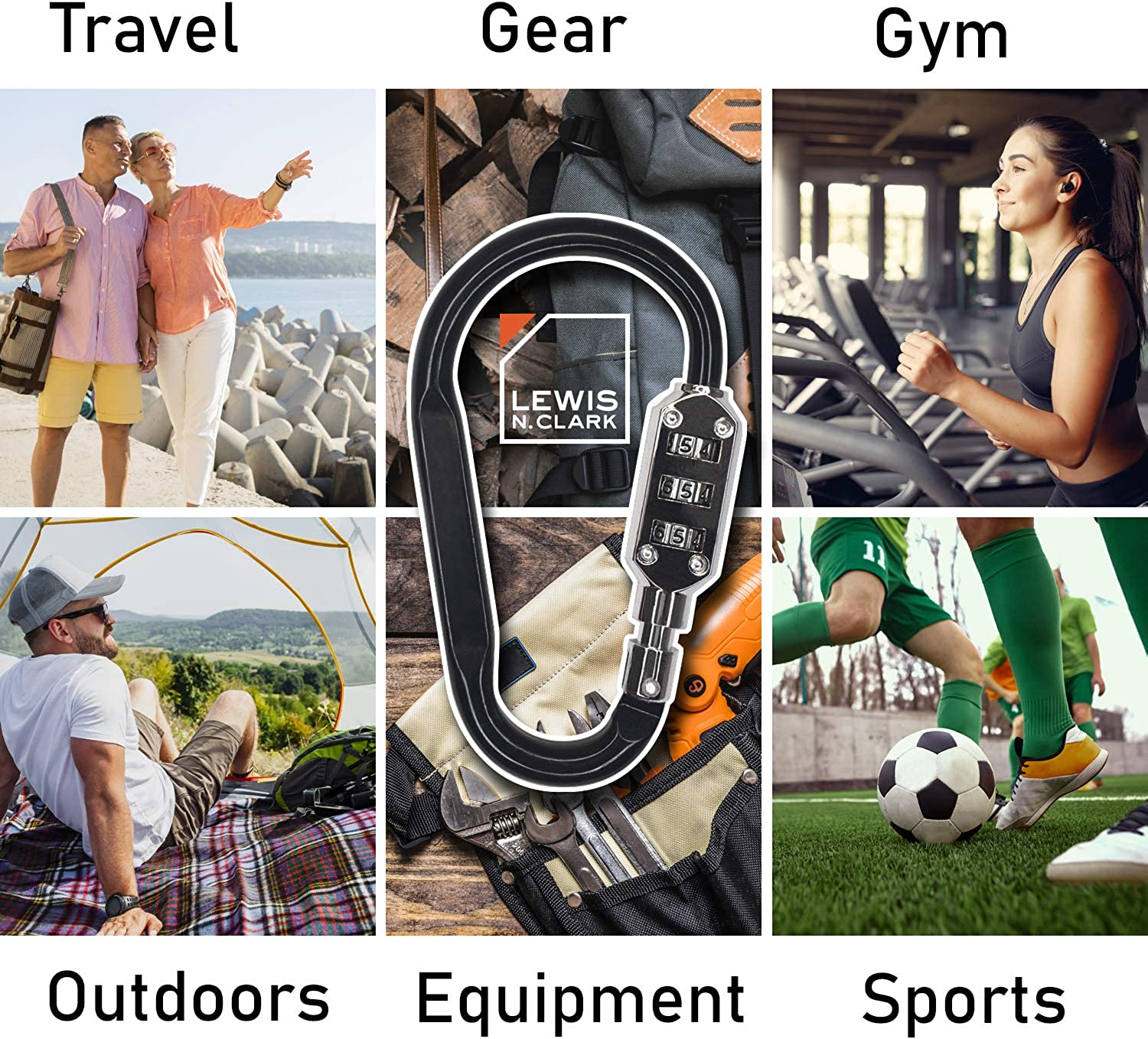 Backpack Keychain with Smooth Surface for No Clothing Lewis N Black or Luggage Snags Clark 3 Dial Carabiner Combination Lock 2-Pack