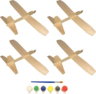 Balsa Wood Jetfire Gliders by Guillow | Wooden Model Airplane Construction Kits | 12-Inch Customizable Blank DIY Flying Toy Planes | 4-Pack Gift Bundle with Acrylic Paint Pods and Brush from KYGON