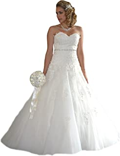 Neu Weiß Brautkleid Hochzeitskleid Ballkleid Gr 32 34 36 38 40 42 44 46 48+