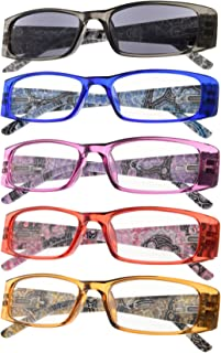 5-Pack Tiger Patterned Reading Glasses with Spring Hinges Include Sunshine Readers