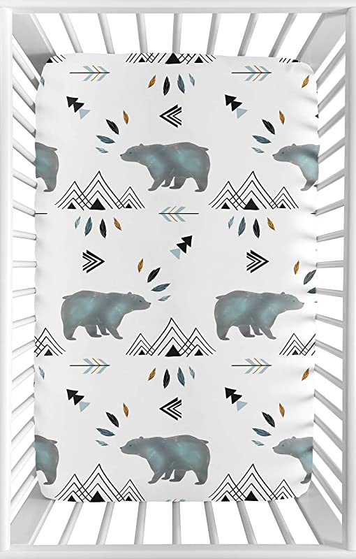 Sweet Jojo Designs Blue White Watercolor Baby Boy Fitted Mini Portable Crib Sheet Bear Mountain Collection For Mini Crib Or Pack And Play ONLY