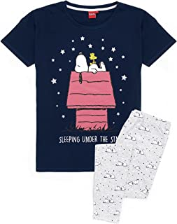 Snoopy Pyjamas For Women | Ladies Grey Long Or Short PJ Bottoms With Beagle Dog Navy T-Shirt | Animated Peanuts By Schulz ...