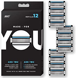 Made for YOU by BIC Shaving Razor Blades for Every Body - Men and Women - Refill Cartridges with 5 Blades for a Close Shave with Aloe Vera and Vitamin E for Smooth Glide, 12 count