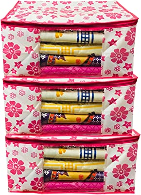 Kuber Industries™ Non Woven Saree Cover Pink Floral Design Set of 3 Pcs (Capacity Upto 15 Sarees) -SS07