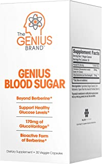 Genius Blood Sugar Support Capsules - Super Berberine Extract w/Organic Cassia Cinnamon for Better Insulin Sensitivity & R...