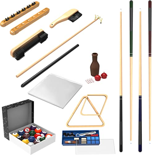 Pool Table Accessory 32 Piece Kit- Billiards Balls, Cues, Stick Repair, Roman Rack, Table Brush, Table Cover, Tally B...
