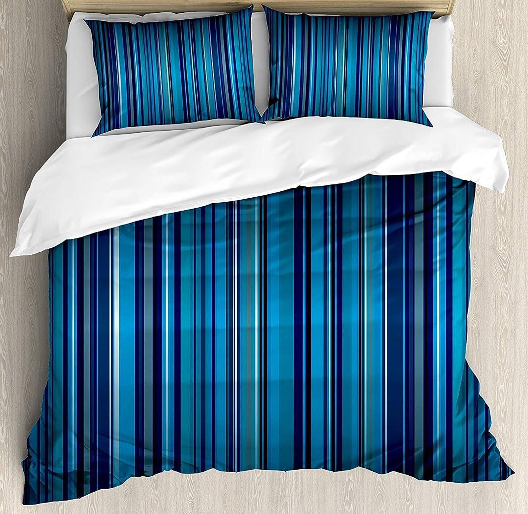 エゴマニアジョセフバンクス見出しハーバーストライプの羽毛布団カバーセットクイーンサイズ、細い縦線でモダンなデザインの鮮やかなNvayブルーの背景、2枕カバー、ネイビーブルーのティールで装飾的な3ピースの寝具セット