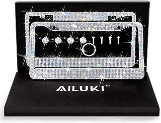 AILUKI Bling License Plate Frame, 2 Pack Bling White Crystal License Plate Frames with 2 Holes Bonus Screw Caps,Car License Plate Covers for US Vehicles/Truck