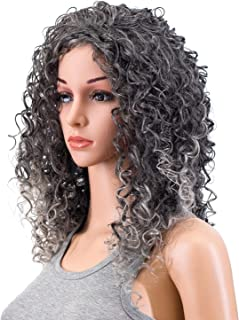 SWACC 20-Inch Long Big Bouffant Curly Wigs for Women Synthetic Heat Resistant Fiber Hair Pieces with Wig Cap (Gray Mixed Highlights)