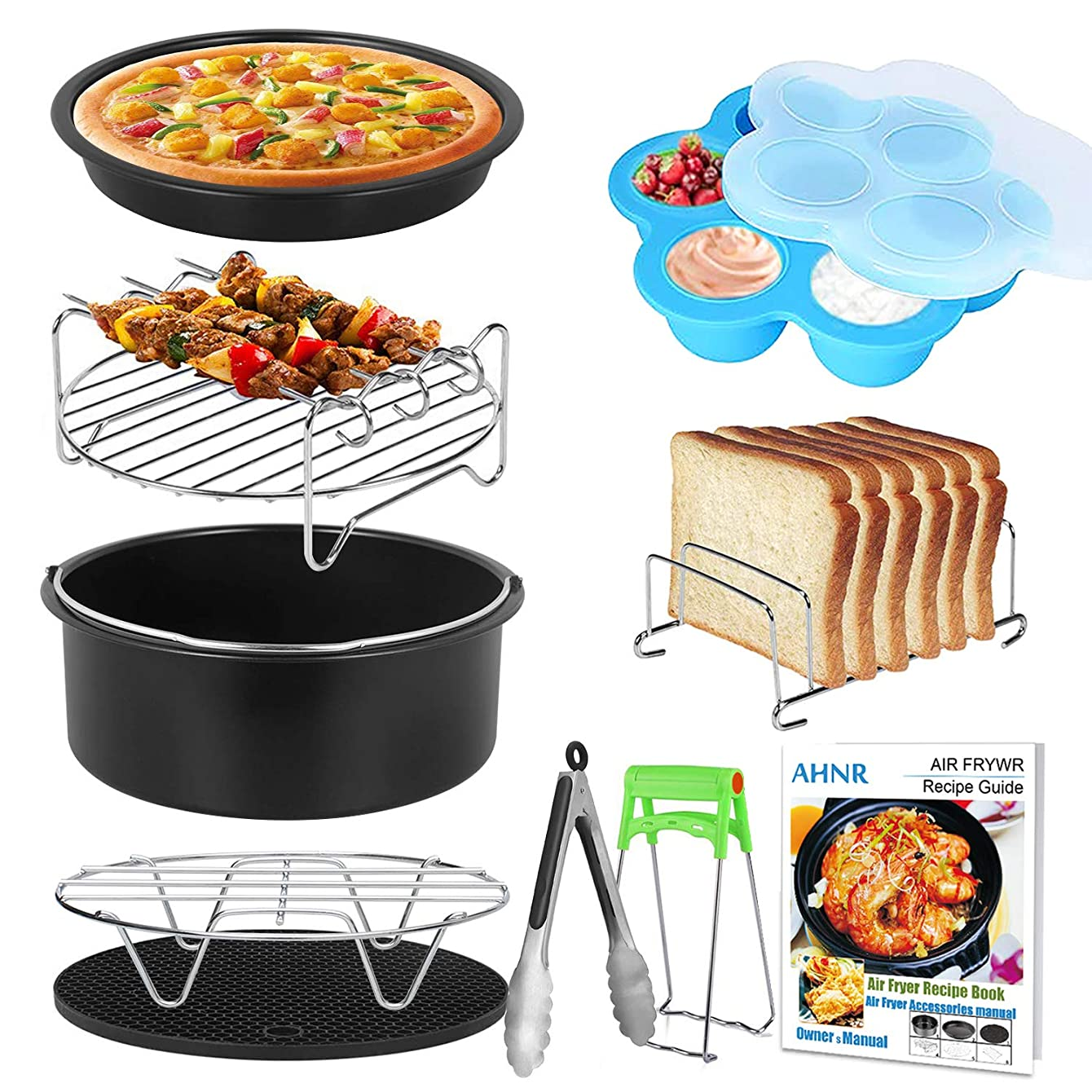 Air Fryer Accessories with Cake Barrel Recipe Cookbook, AHNR Airfryer Accessory Set of 10 for Philips Gowise USA Cozyna Airfryer 3.7QT - 5.3QT