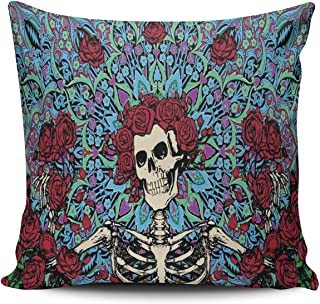 WEINIYA Home Custom Decor Grateful Dead with Red Roses Throw Pillow Cover Exquisite Double Sides Printed Patterning Square 18x18 Inches