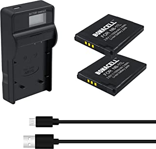 Bonacell NB-11L Replacement Battery(2-Pack) and Charger Kit (LCD) Compatible with Canon PowerShot A2300/A2400 is, A2500, A2600, A3400/A3500/A4000 is and ELPH 110/115/130 HS, ELPH 135/140/150 is