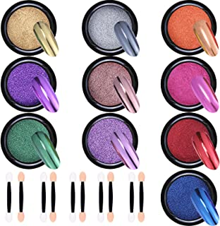 Duufin 10 Jars Nail Powder Mirror Nail Art Powder Metallic Chrome Powder 10 Colors Manicure Pigment(1g/Jar) with 10 Pcs Eyeshadow Sticks