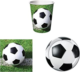 Creative Converting Sports Fanatic Soccer Party Supplies Set for 16: Plates, Napkins, and Cups