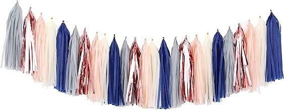 Fonder Mols Tissue Paper Tassel Garland DIY Kit Tassels Banner Decorations for Baby Boy Shower Nursery Decor (Pack of 25pcs, Navy Gray Beige Rose Gold Champagne) A30