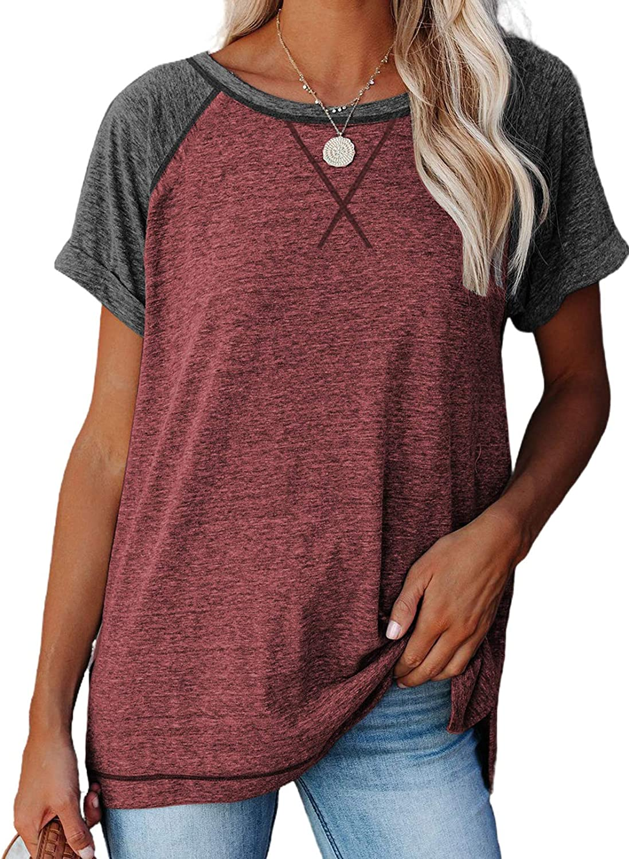 HOTAPEI Women's Short Sleeve Crewneck Raglan T-Shirt Loose Casual Tee Summer Tops