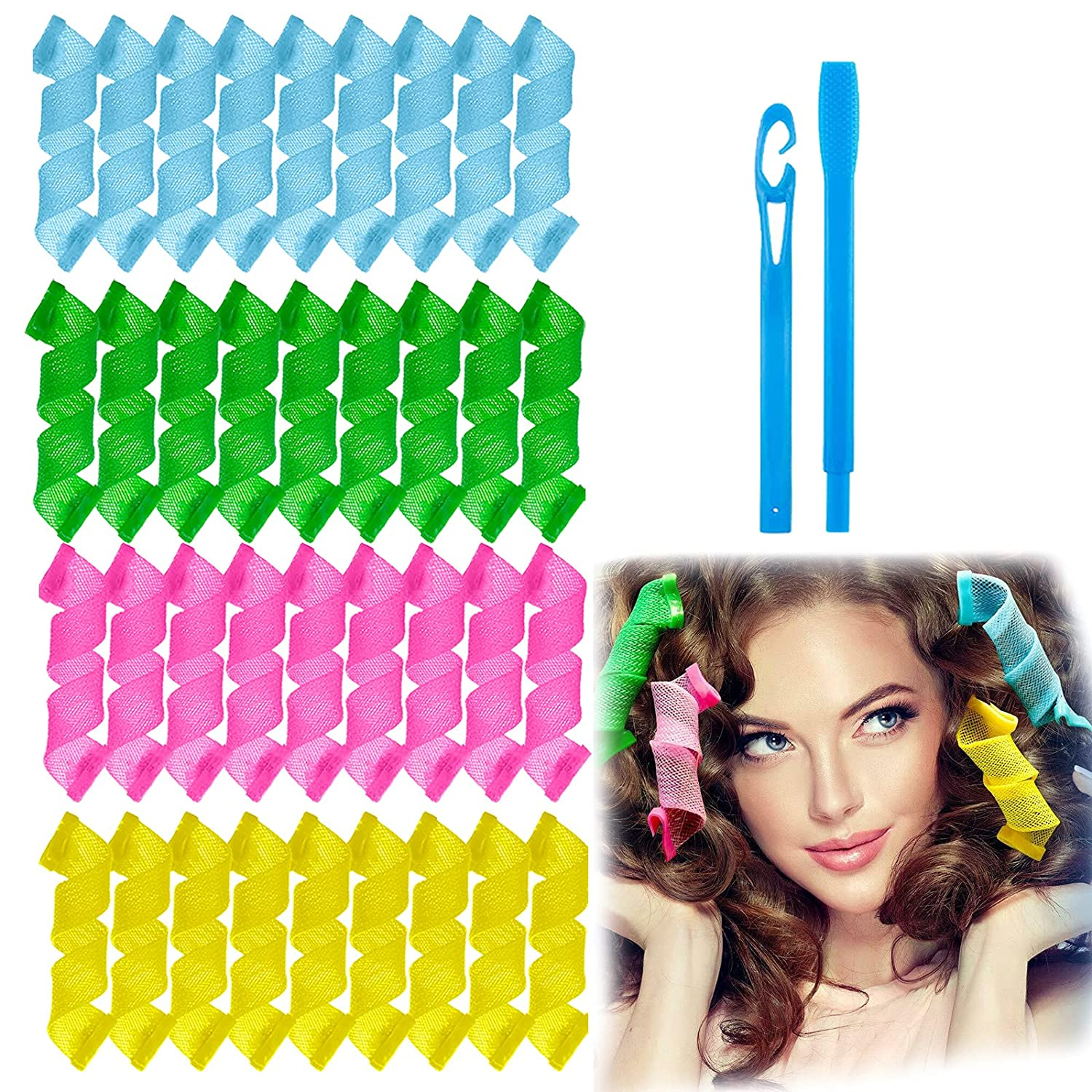 FOIIOE San Antonio Mall 36 Pieces Mother's Holiday Curlers Curls Austin Mall Gift Hair Spiral