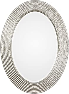 MY SWANKY HOME Elegant Silver Ribbed Organic Style Wall Mirror   Oval Twig Reeded Vanity Modern
