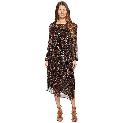 See by Chloe Printed Silk Crepon Midi Dress (Multicolor Black 1) Women