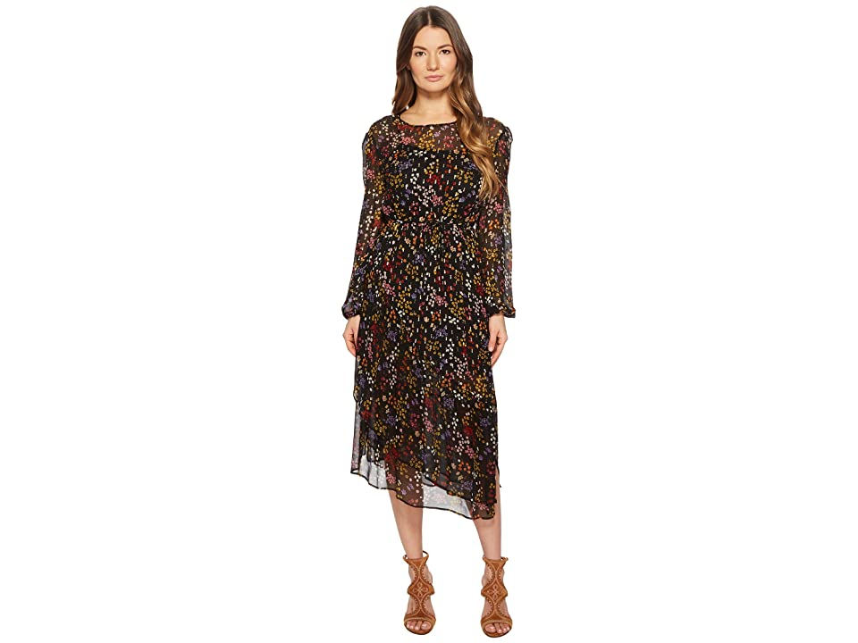 a570e25e309 See by Chloe Printed Silk Crepon Midi Dress (Multicolor Black 1) Women s  Dress