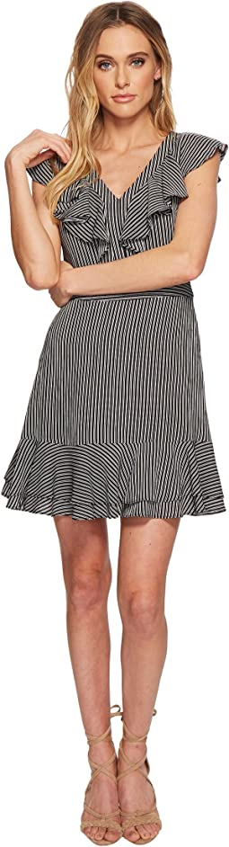 Striped V-Neck Double Layer Dress