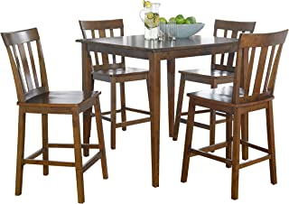 Mainstay 5 Piece Counter Height Dining Set In Cherry Finish Free Multi Surface