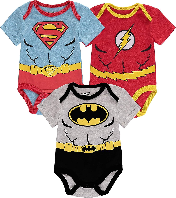 DC Comics baby-boys Justice League Multi Pack Bodysuits - Assorted Superhero Bodysuits