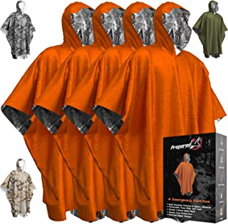 Emergency Blankets & Rain Poncho Hybrid Survival Gear and Equipment – Tough, Waterproof Camping Gear Outdoor Blanket – Ret...