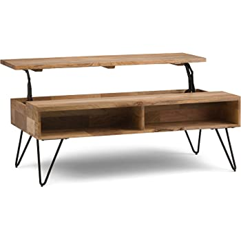 Simpli Home Hunter SOLID MANGO WOOD and Metal 48 inch Wide Rectangle Industrial Contemporary Lift Top Coffee Table in Natural with Storage, 2 Shelves, for the Living Room, Family Room