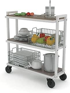 Atlantic Cart System 3 Tier Cart - Wide Mobile Storage, Interchange Shelves and Baskets, Powder-Coated Steel Frame PN23350328 in White