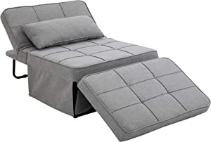 HOMCOM 4-in-1 Design Convertible Sofa Tea Table Lounge Chair Single Bed with 5-Level Adjustable Backrest, Footstool and Metal Frame for Living Room Bedroom, Grey