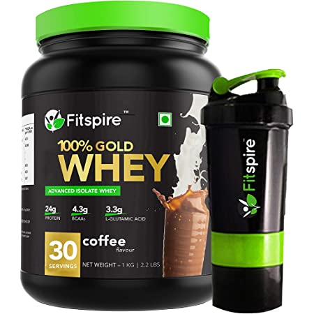 Fitspire 100% Gold Isolate Whey Protein with Shaker | No Added Sugar, Low Carbs, Zero Cholesterol & Gluten Free | ISO Certified | Coffee | 1 Kg