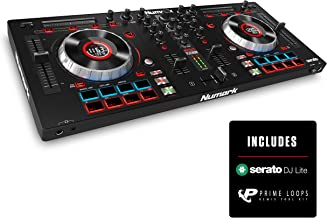 Numark Mixtrack Platinum - Controller per DJ a 4 Deck con Due Display LCD Integrati in Jog Wheel Capacitive Sensibili al Tocco, Striscia Touch Multifunzione, Sezione I/O e Pacchetto Software Incluso