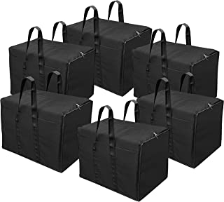 Storite 6 Pack Multi-Purpose Storage Bag/Clothing Storage Organiser/Toy Storage Bag/Stationery Paper Storage Bag with Zipper Closure and Strong Handle-(Black, 57x 36.8X 40.5 cm)
