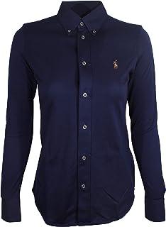 Polo Ralph Lauren Womens Knit Oxford Shirt (Medium, Navy)