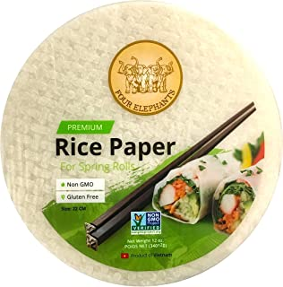 Four Elephants Premium Rice Paper Round Non-GMO Verified (1Pack) 22 CM