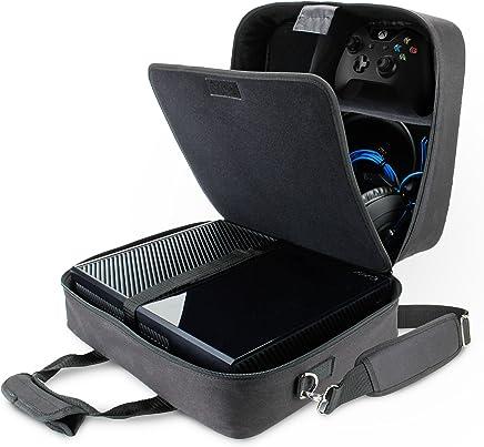 Funda Bolsa de Transporte de Consolas   Maletín Protector con Correa y Compartimentos Customizables para Videojuegos por USA GEAR   Para Videoconsolas PlayStation PS4 Pro Xbox One S Nintendo Wii U y más